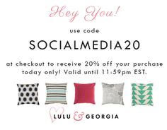 Thanks for following us on social media! Enter code SOCIALMEDIA20 for 20% off your purchase. Valid until 4/22/14 @ 11:59pm est. https://www.luluandgeorgia.com
