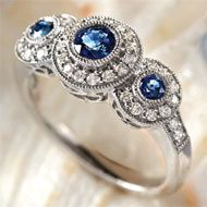 Royal Sapphire & Diamond Ring. Reminds me of my favorite pink saphire ring, but 3x better (since mine only has one saphire)