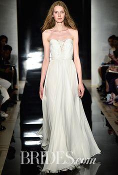 Brides.com: Reem Acra - Spring 2017                          Silk chiffon hand draped wedding dress with re-embroidered lace appliqué, Reem Acra                                                                                  Photo: Rodin Banica / Indigitalimages.com