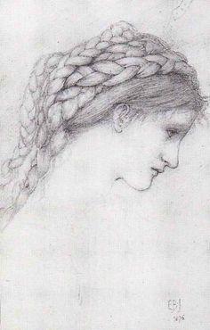 Edward Burne-Jones - Study of the head of a girl with braided hair