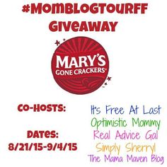 Win delicious gluten free snacks! Mary's Gone Crackers Giveaway #MomBlogTourFF #ad