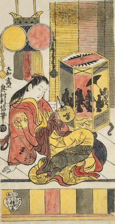 """Courtesan Admiring a Shadow Lantern"". "". Ukiyo-e woodblock print, about 1720's, Japan, by artist Okumura Tishinobu."