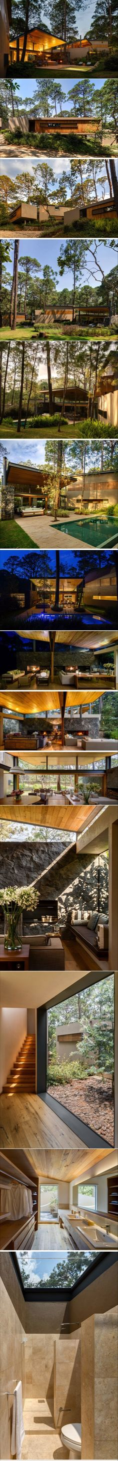 This new home of wood and stone was designed to enjoy the tranquility of the surrounding forest | CONTEMPORIST