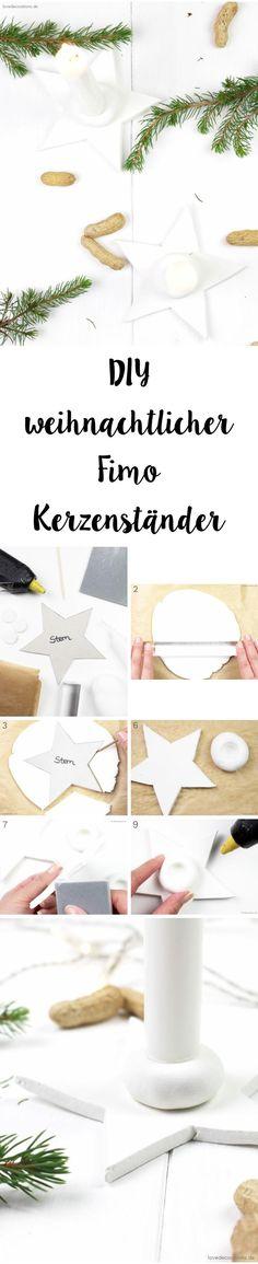 DIY star fimo candle holder for christmas | DIY weihnachtlicher Fimo Kerzenständer