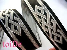 Celtic Ribbon Dragon Knot Ribbon Trim Black and Silver by Toide, $5.00
