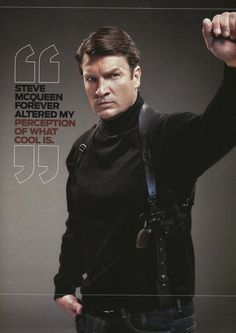 "Nathan Fillion For ""Geek Magazine"" - Nathan Fillion as Steve McQueen in Bullitt? I don't think swoon is a strong enough word for how I feel about this! Nathan Fillion, Steve Mcqueen, Nerd Love, My Love, Geek House, Geek Magazine, Design Magazine, Firefly Serenity, Celebs"