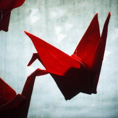 red fabric origami cranes by Smallest Forest, via Flickr
