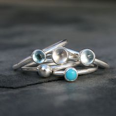 Pacific Island Stacking Rings Sky Blue Topaz Clear by KiraFerrer