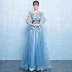 Elegant Pool Blue Prom Dresses 2019 A-Line / Princess Scoop Neck Appliques Lace Flower Pearl Sleeves Backless Floor-Length / Long Formal Dresses Tesettür Ayakkabı Modelleri 2020 Burgundy Evening Dress, Lace Evening Dresses, Prom Dresses Blue, Trendy Dresses, Modest Dresses, Ball Dresses, Elegant Dresses, Beautiful Dresses, Nice Dresses