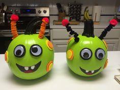 Alien painted pumpkins.