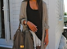 Black tank + beige cardi + white lace skirt