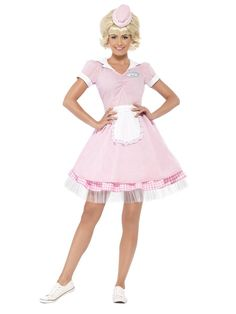 Smiffy's Women's Diner Girl Costume: Looking for the ultimate disguise? Try a Smiffy's Costume on for size! Perfect for carnival, theme parties and Halloween. Package includes: 1 Smiffy's Women's Diner Girl Costume: Dress and Mini Hat, Color: Pink. Halloween Costumes For Teens, Halloween Fancy Dress, Halloween Kostüm, Girl Costumes, Adult Costumes, Costumes For Women, 1950s Costumes, Party Costumes, Halloween Clothes