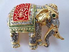 Vintage Rhinestone & Enamel Elephant