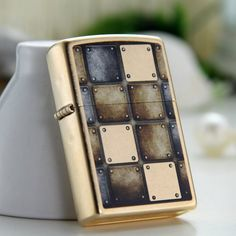 Zippo Tumbled Brass Lighter With Metal Design