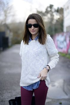 burgundy jeans with denim shirt and white sweater
