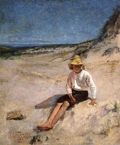 Edmund C. Tarbell (American 1862–1938) [Impressionism, Portrait, The Ten] Boy on the Beach . (1885) Private Collection. – The Athenaeum