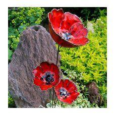 Mohn Keramik 3 poppies Blumen Garten Ton rot Set