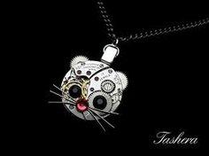 Steampunk kitty necklace.