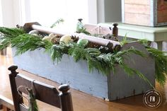 Farmhouse Christmas Decorating Home Tour  2014- Finding Home Maybe its time to use my toolbox.  It is just the right shade of blue.
