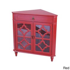 Heather Ann Heirloom Style One (1) Drawer Corner Accent Cabinet (Red)