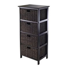 Winsome Wood 20418 Omaha Storage Rack with Four Foldable Baskets