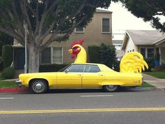 Yellow rooster car