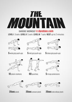 The Mountain is a bodyweight upper body workout you can do anywhere. Even a closet! Bodyweight Upper Body Workout, Full Body Workout Routine, Calisthenics Workout, Gym Workout Tips, Workout Challenge, Fun Workouts, At Home Workouts, Grit Workout, Easy Daily Workouts
