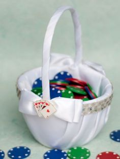 Poker Chip Flower Girl Basket #lasvegas #wedding
