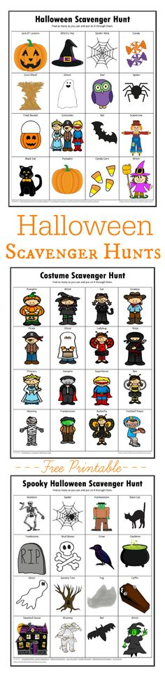 Free printable Halloween scavenger hunts. costume scavenger hunt | spooky Halloween scavenger hunt | not so spooky Halloween scavenger hunt
