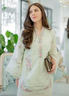 Indian Bridal Fashion, Sea Foam, Traditional Outfits, Bridal Style, Kurti, Designer Dresses, Bell Sleeve Top, Celebs, Green