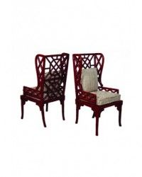 Red Bamboo Wingback Chairs from Shop Ten 25
