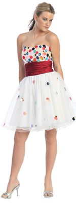 White Strapless Confetti Prom Dress with Red Waistband-Sz. XS-2X - Unique Vintage - Cocktail, Pinup, Holiday & Prom Dresses.