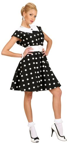costume for women: This costume consists of a short dress and a belt (earrings, bracelet and shoes not included). This dress is slightly waisted and has little white dots on it. This typical costume will be a. Pin Up Mode, Rockabilly Mode, 50s Costume, 1950s Style, Cool Style, My Style, Hot Dress, Little White, 1950s Fashion