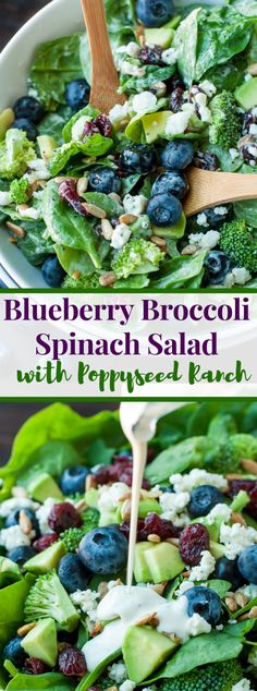 delicious Blueberry Broccoli Spinach Salad with Poppyseed Ranch is the ideal mix of exquisite sweetness! Green Veggies, Fresh Vegetables, Fruits And Veggies, Root Veggies, Best Salad Recipes, Vegetarian Recipes, Healthy Recipes, Vegetarian Pasta Salad, Spinach Salad Recipes
