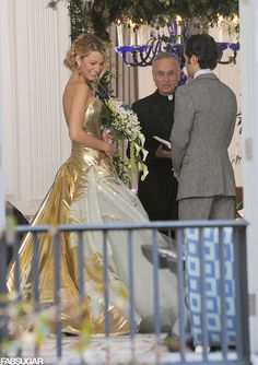 Serena's Gossip Girl wedding dress- want to get married in gold now!