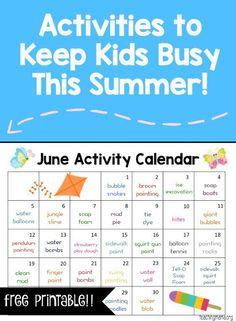 June Activity Calendar - fun, hands-on activities to keep kids busy this summer!