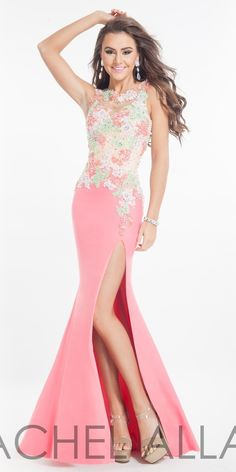 Floor Length Lace Gown Rachel Allan golden asp