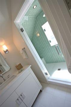 Attic Bathroom. Love tile in shower.