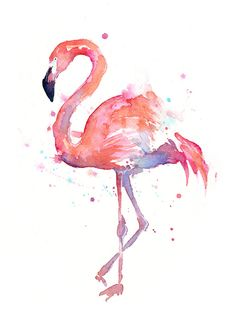 Flamingo Watercolor Art Art Print