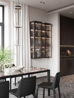 dining room Minimalist Design, Bookcase, Dining Room, House Design, Shelves, Curtains, Instagram, Interior, Furniture