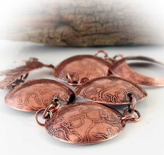 Textured Horse Bracelet, .Etched Copper Links, Horse Toggle,
