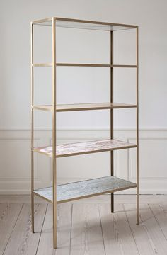 theapartment  Muller Van Severen, Contemporary, Belgium   Shelves in different marble sorts. Brass rack. H190 x D37,5 x W90cm