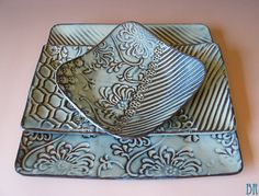 Pottery Plate  Dinner plate  3 piece place by DragonflyArts, $90.00