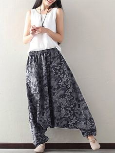 O-NEWE Loose Printed Elastic Waist Pockets Harem Pants For Women