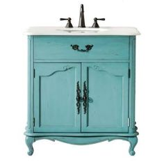 Home Decorators Collection Provence 33 in. W x 22 in. D Single Sink Vanity in Blue with Marble Vanity Top in White-1112800310 at The Home Depot