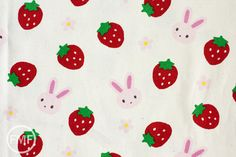 Strawberry Bunny in Natural, manufactured by Kiyohara Fabrics. This is a 100% cotton, medium-weight canvas fabric. This fabric is imported from Japan. 100% cotton, new, unwashed, from a smoke-free and pet-free shop.  More from Kiyohara here: http://www.etsy.com/shop/FreshModernFabric/search?search_query=kiyohara  More Japanese Imports here: https://www.etsy.com/shop/FreshModernFabric?ref=hdr_shop_menu&search_query=japanese+impor...