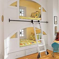 Built in bunk beds with sliding ladder