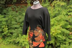 Rina Dyuarsky Vintage 80's Leather Applique Cotton Jersey Awsome Fall Dress