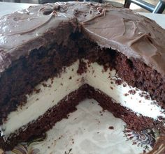 HOHO CAKE 1 chocolate cake mix prepared as directions say. Bake in 2 9in cake pans.   1 can milk chocolate frosting   Filling::   1 8oz creamc...