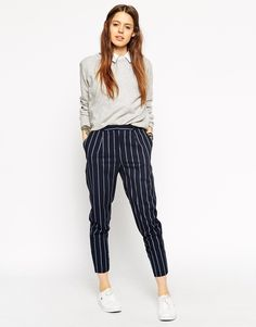 Image 1 of ASOS Printed High Waisted Peg Trouser